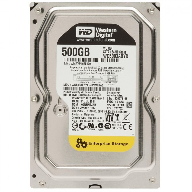 hdd 500GB sata3 WD-RE 64MB 7200rpm (server-hdd 24/7)
