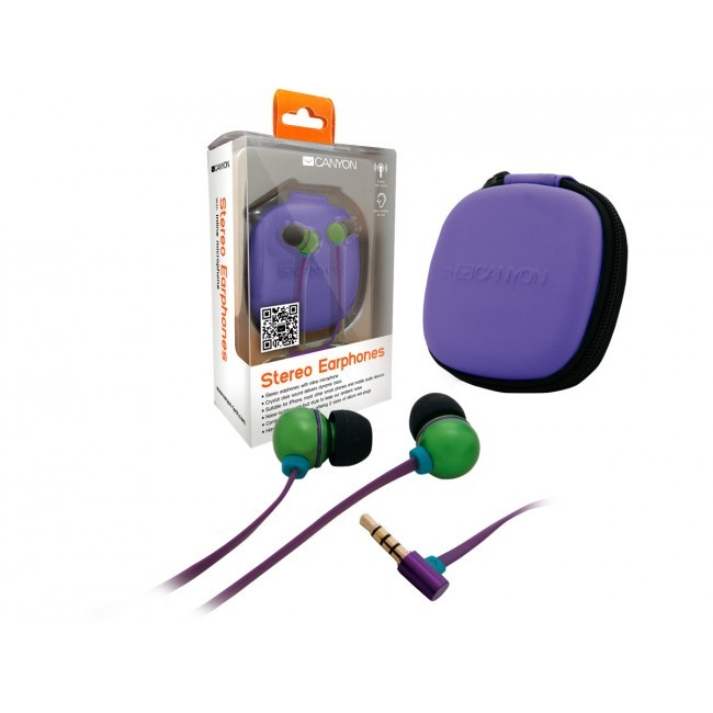 Canyon in-ear headset groen + storage bag CNA-SEP04G