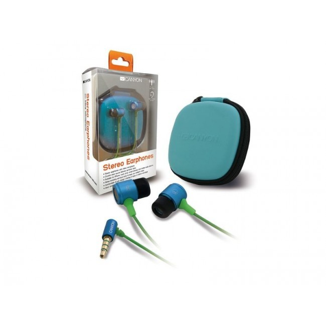 Canyon in-ear headset blauw + storage bag CNA-SEP06BL